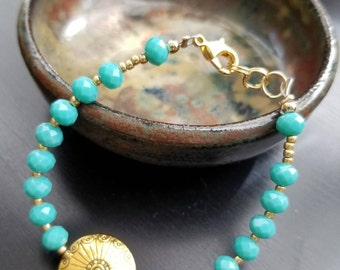 Turquoise sparkle and gold