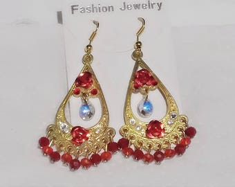 red gold-plated earrings