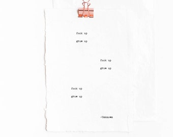 Love Box: Fuck up - Grow up, Funny, Inspirational, Romantic Greeting Card /Poem -Gifts for Bestfriend, Girlfriend, Boyfriend