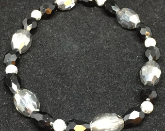 Black, Silver, Grey Crystal Bracelet