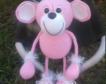 Knitted pink Monkey chrochet toy
