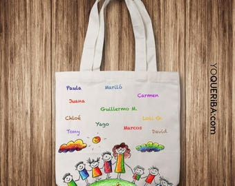 Tote bag for teachers with children's signatures