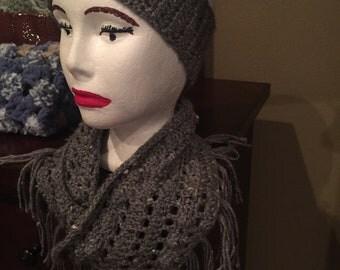 Crocheted grey cowl scarf