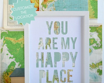 Long Distance Relationship Gift, Girlfriend Gift, Anniversary Gift Idea for Husband, Wedding Day Gift, Anniversary Gift for Him, Happy Place