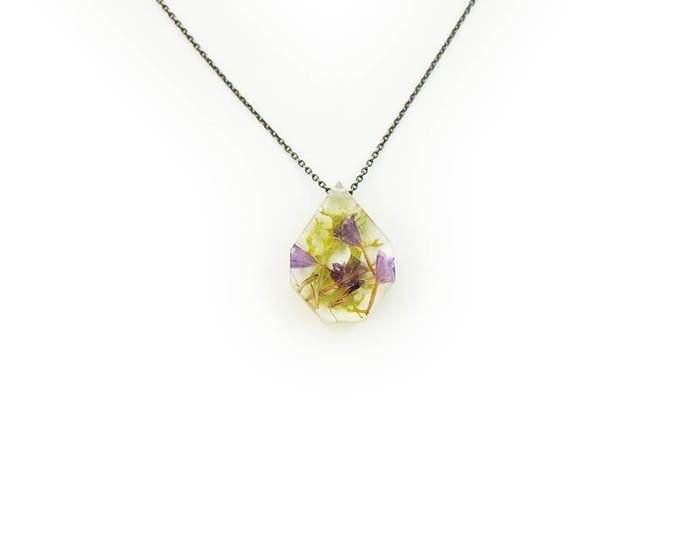 Medium Purple Flower Terrarium Eco Resin Necklace