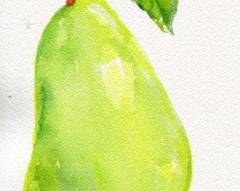 Original Pear watercolor painting, green pear, leaf  fruit watercolor painting, pear decor, pear artwork, pear painting, kitchen decor
