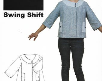 Sewn Square One - SWING SHIFT Jacket or Top - Sewing Pattern - Multi Sizes 0 to 20 - UNCUT