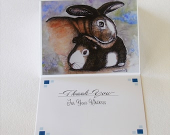 Bunny Card, Bunny Greeting Card, Thank You Card, Guinea Pig Card, Bunny Watercolor, Bunny Painting, Bunny Thank You, Bunny Notecard, Cards