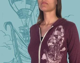 Unisex Zip Hoodie - Pirate Airship Hooded Sweatshirt - Around the World in 80 Days Jacket