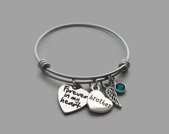 Forever In My Heart Bracelet, Brother Memorial Bracelet, Sibling Loss Bracelet, Loss Of Brother, Remembrance Charm Bracelet, Stainless Steel