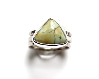 SALE - Damele Sterling Silver Stacking Ring | Size 6.5 | Triangle Turquoise Variscite Green Damale | Boho Minimalist | Gugma Jewelry