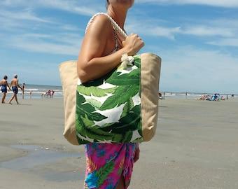 Beach Bag - Tropical Beach Bag - Monogram Beach Bag - Waterproof Lining - Pool Bag