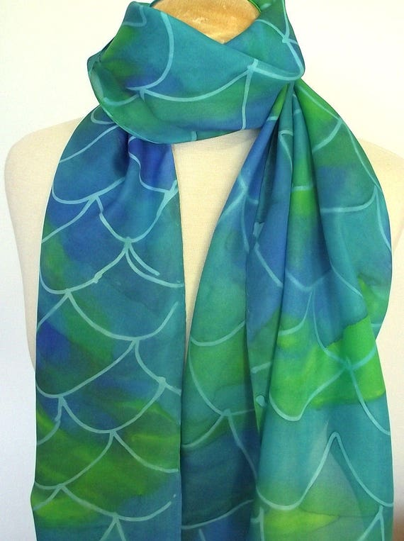 Hand Painted Silk Scarf, Mermaid Scales in Ocean Colors of Turquoise, Lime, Blue and Green, 14x72""