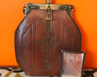 Jemco Purse with Original Mirror // Brown Hand Tooled Leather // 1920s Bag // Flapper // Art Deco // Great Gatsby // Art Nouveau // 1900s