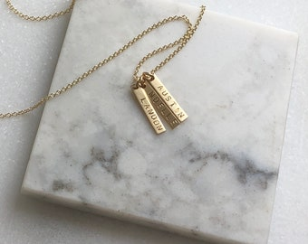 Ultra Tiny Vertical Bar necklace, 1,2 or 3 Personalized Bar Necklace, Silver, Rose, or Gold Bar Necklace, Personalized Jewelry, Custom Name