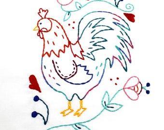 Rooster Hand Embroidery Digital Pattern Kitchen Chicken Coop PDF