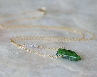 Raw Stone Necklace, Raw Diamond Necklace, Green Gemstone Necklace, Gemstone Pendant, Chrome Diopside Necklace, Gift for Her, Beauty Gift
