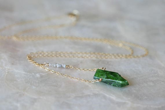 Green Chrome Diopside Necklace with Raw Diamond Accents