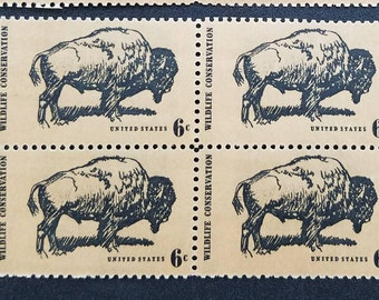 Ten (10) vintage unused postage stamps - Buffalo Wildlife Conservation // 6 cent stamps // Face value 0.60