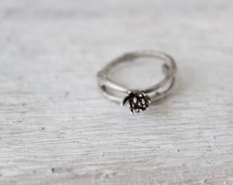 Silver botanical ring -Succulent ring-Nature ring-Botanical jewelry -Succulent jewelry -Stacking ring-Sterling silver ring -Gift for her
