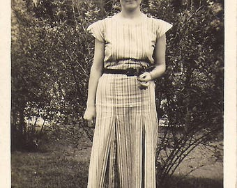 1940's Girl in Striped Dress, Smiling Lady in Garden Vintage Snapshot Found Photograph