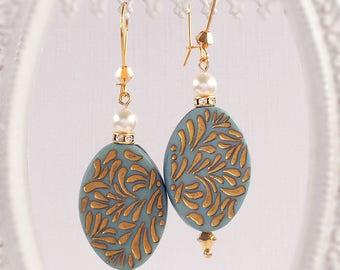 Bohemian Earrings - Blue - Summer Earrings - Dangle - RETRO BOHO Blue