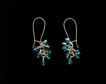 Cluster Earrings with Turquoise Swarovski Bi-cone Crystals and Secure Brass Ear Wires