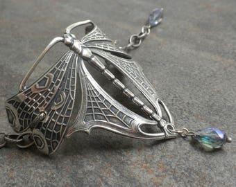 Dragonfly Jewelry Silver Cuff Bracelet Art Nouveau Style