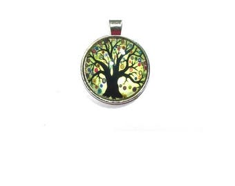 Silver Glass Dome Pendant , Tree Of Life Pendant , Glass Dome Pendant