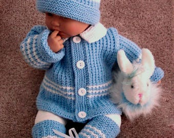 Custom handmade  knit baby boys or Reborn Dolls Baby Blue Sweater hat  booties set Layette- 0-12M-Lovely Baby Gift or Photos - Ready to Ship