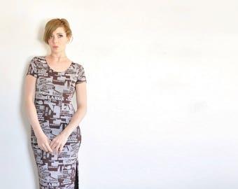 90s headline newsprint dress . novelty magazine editorial word pattern maxi .small.medium