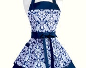 Womens Ruffled Retro Apron - Navy Blue White Damask Womans Vintage Style Pin Up Kitchen or Wedding Apron Ideal to Personalize or Monogram