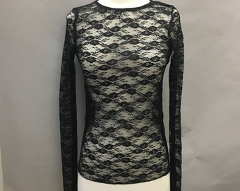 Black Lace Sheer Long Sleeve Top with Stretch