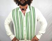 Vintage 1960s 60s Striped Green Grandpa Cardigan Sweater - Towne and King Ltd. California