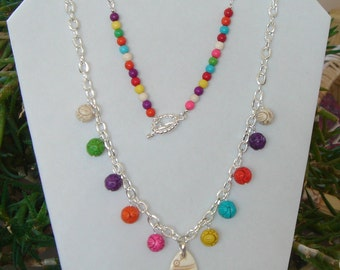 Multicolor Necklace Carved Beads Dangles Necklace Silver Chain Necklace Carved Fish Pendant Necklace Summer Beach Necklace Long Necklace