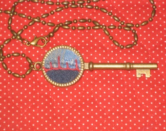 Key Necklace Quilt Jewelry Textile Art Feather Stitching Crazy Quilt OOAK Gift For Her With Gift Box Quilters Gift Blue Red