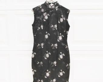 Vintage Cheongsam Black Satin Dress with Mandarin Collar