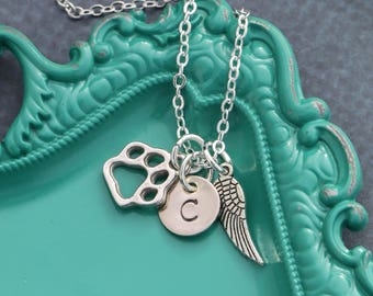 Dog Memorial Pet Necklace • Pet Loss Jewelry Angel Dog Puppy Angel Wing • Personalized Pawprint Jewelry • Pet Memorial Gift Dog Loss