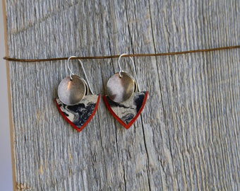 RED GLACIERS / Wood Earrings / Women's Jewelry / Gifts For Her / Sustainable / Earrings / Acrylic Painting / Art / Art Jewelry