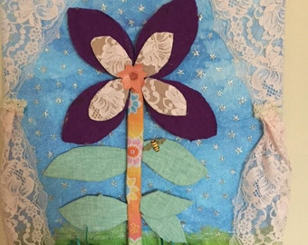 Mixed Media flower wall art