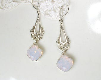 Blush Pink Opal Silver Bridal Earrings,Rose Water Bridesmaid Dangle Earings, Vintage Wedding 1920s Art Nouveau/Deco Rhinestone Long Antique