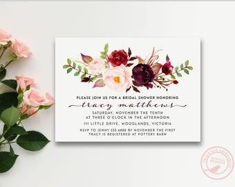 Bridal Shower Invitation | Rose wedding shower invite | Burgundy and Pink Floral Bridal Shower | Floral Wreath 2819