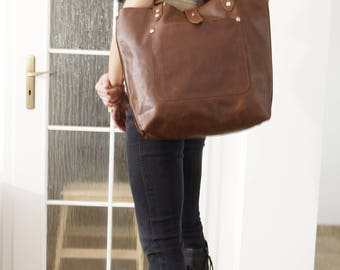 Leather Tote Bag, Leather Handbag, Leather Tote Bag, Large Leather Tote, Brown Tote Bag, Brown Bag, Leather bag, antique brown - Ria
