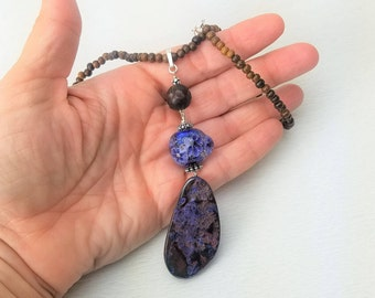 Purple Australian Boulder Opal Removable Pendant with ikuyoglassart Glass Bead, Wood, Sterling Silver Necklace