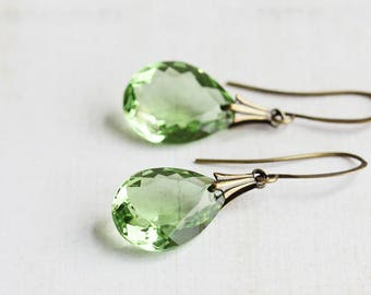 Large Light Green Faceted Glass Drop Earrings on Antiqued Brass Hooks