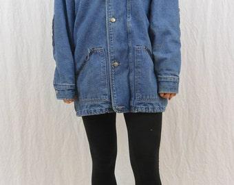 Vintage Denim Barn Jacket, Oversized, Size Medium-Large, Grunge, Workwear, Elbow Patches, Tumblr Clothing