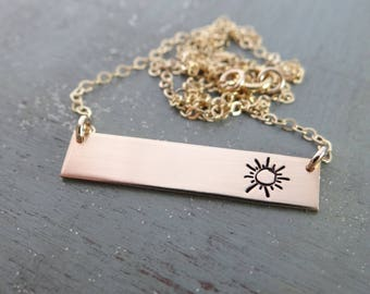 Sunshine Gold Bar Necklace. Add Custom Name or Words. Sun Jewelry. Hand Stamped Simple Layering Bar Necklace. Rose Gold, Gold, or Silver