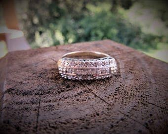 Antique Diamond Ring/ set in White Gold Wide Band /14KT Yellow Gold Shank