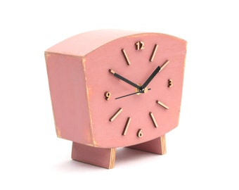 Pastel Pink Clock Table, Wood Desk Clock, Distressed Mantel clock, Shabby chic, Powder Pink decor, Dusty lilac, Autumn  decor, Office decor
