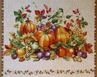 Quilted Autumn Wallhanging, Thanksgiving Door Banner,  Pumpkins, Chickadees,  and Flowers, Quiltsy Handmade
